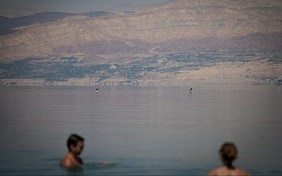 Illustrative image of people floating on the water in the Dead Sea, Israel, on May 27, 2017. (Yonatan Sindel/Flash90)