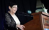Then-outgoing Supreme Court chief justice Miriam Naor speaks during her a farewell ceremony in Jerusalem, on November 6, 2017.(Flash90)