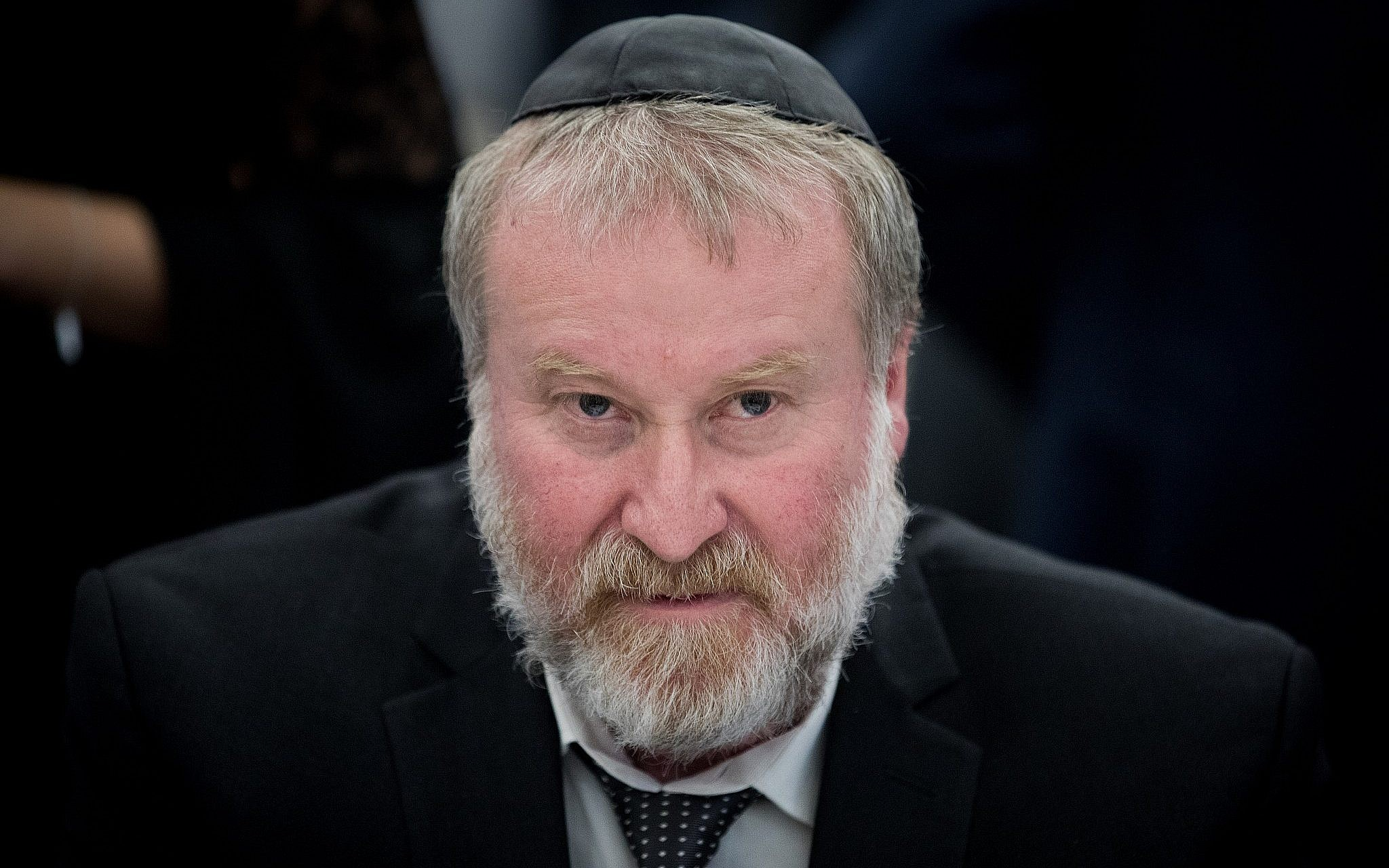 Attorney General Avichai Mandelblit at a conference in Jerusalem on February 5, 2018. (Yonatan Sindel/Flash90)