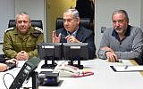 Prime Minister Benjamin (c), Defense Minister Avigdor Liberman, (r) and IDF Chief of Staff Gadi Eizenkott, attend a security cabinet meeting at the Kirya, the IDF Headquarters, in Tel Aviv, on February 10, 2018. (Ariel Hermony/Ministry of Defense)