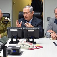 Illustrative: Prime Minister Benjamin (c), Defense Minister Avigdor Liberman, (r) and IDF Chief of Staff Gadi Eizenkott, attending a security cabinet meeting at the Kirya, the IDF Headquarters, in Tel Aviv, on February 10, 2018. (Ariel Hermony/Ministry of Defense)