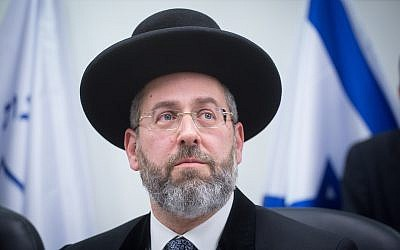 Israel's Ashkenazi Chief Rabbi David Lau March 29, 2018. (Miriam Alster/Flash90)