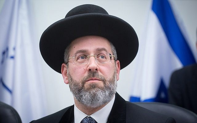 Israel's Ashkenazi Chief Rabbi David Lau March 29, 2018. (Miriam Alster/Flash90)