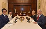 Prime Minister Benjamin Netanyahu (right) and his wife Sara Netanyahu host a dinner for Japanese Prime Minister Shinzo Abe and his wife Akie, at the Prime Minister's Residence in Jerusalem on May 2, 2018. (Kobi Gideon/GPO)