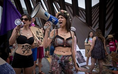 Israelis take part in the annual SlutWalk march in central Tel Aviv, on May 4, 2018 (Miriam Alster/Flash90)