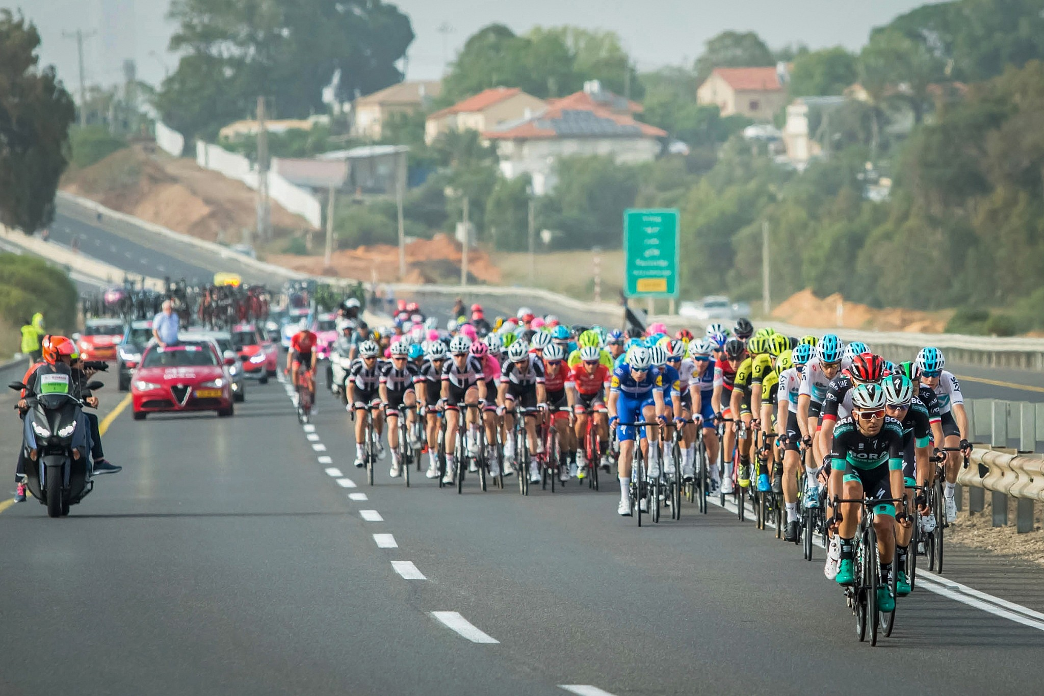 1ef4b115b3f6 Cyclists ride during the second stage at the Giro d Italia near Beit Yanai  on