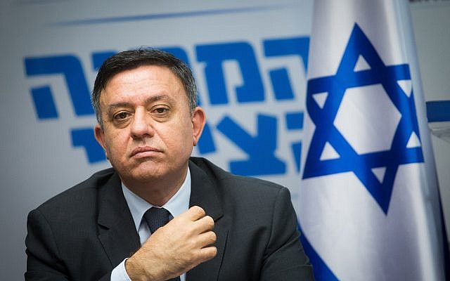 Zionist Union chairman Avi Gabbay leads a faction meeting in Knesset on May 7, 2018. (Miriam Alster/Flash90)
