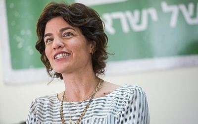 Meretz chairwoman Tamar Zandberg leads a faction meeting in the Knesset on May 7, 2018. (Miriam Alster/Flash90)