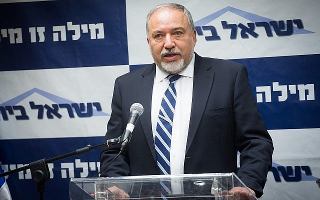 Defense Minister Avigdor Liberman leads a faction meeting of his Yisrael Beytenu party at the Knesset on May 7, 2018. (Miriam Alster/Flash90)