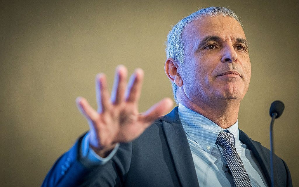 Finance Minister Moshe Kahlon speaks during a conference in Jerusalem on May 7, 2018 (Yonatan Sindel/Flash90)