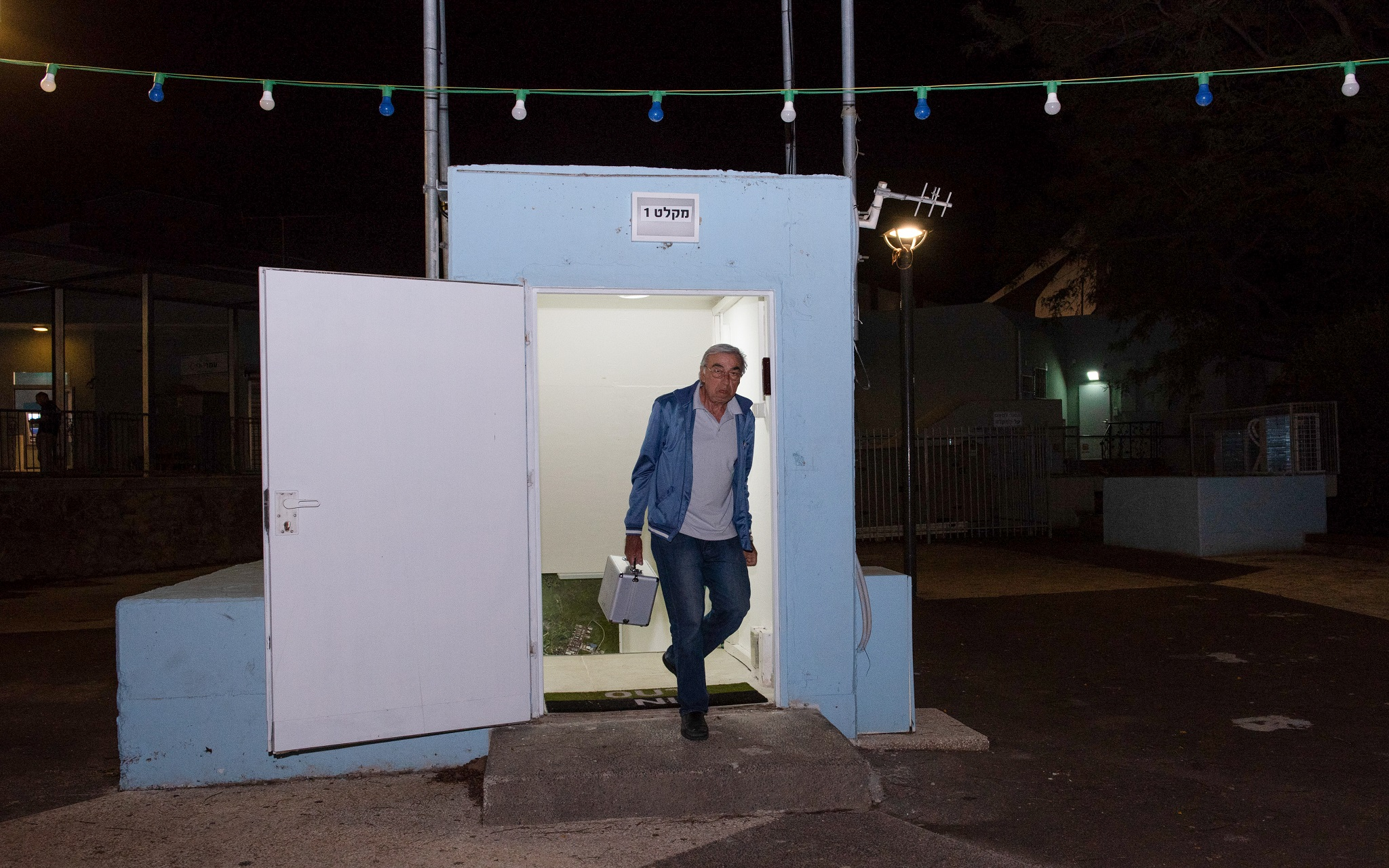 A man seen at the entrance to a bomb shelter that was opened in the Golan Heights, in northern Israel, May 8, 2018. (Basel Awidat/Flash90)