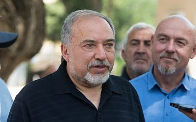 Israeli Defense Minister Avigdor Liberman  in Katzrin, May 11, 2018. (Basel Awidat/Flash90)