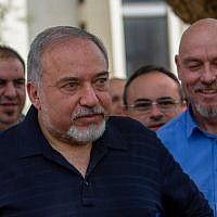 Defense Minister Avigdor Liberman gives a statement to the media during his visit in Katzrin, May 11, 2018. (Basel Awidat/Flash90)