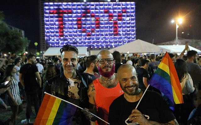 "Hundreds of Israelis celebrate in Rabin Square in Tel Aviv after Israeli contestant Netta Barzilai won the Eurovision song contest with her song ""Toy,"" May 12, 2018. (Flash90)"