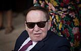 Sheldon Adelson at the inauguration of the US embassy in Jerusalem on May 14, 2018. (Yonatan Sindel/Flash90)