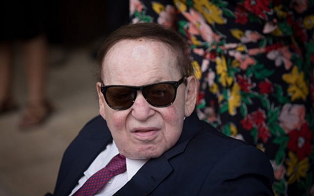 Sheldon Adelson at the inauguration of the US embassy in Jerusalem on May 14, 2018. (Yonatan Sindel/Flash90)