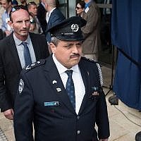 Israeli chief of police Roni Alsheich arrives at the official opening ceremony of the US embassy in Jerusalem on May 14, 2018. (Yonatan Sindel/Flash90)