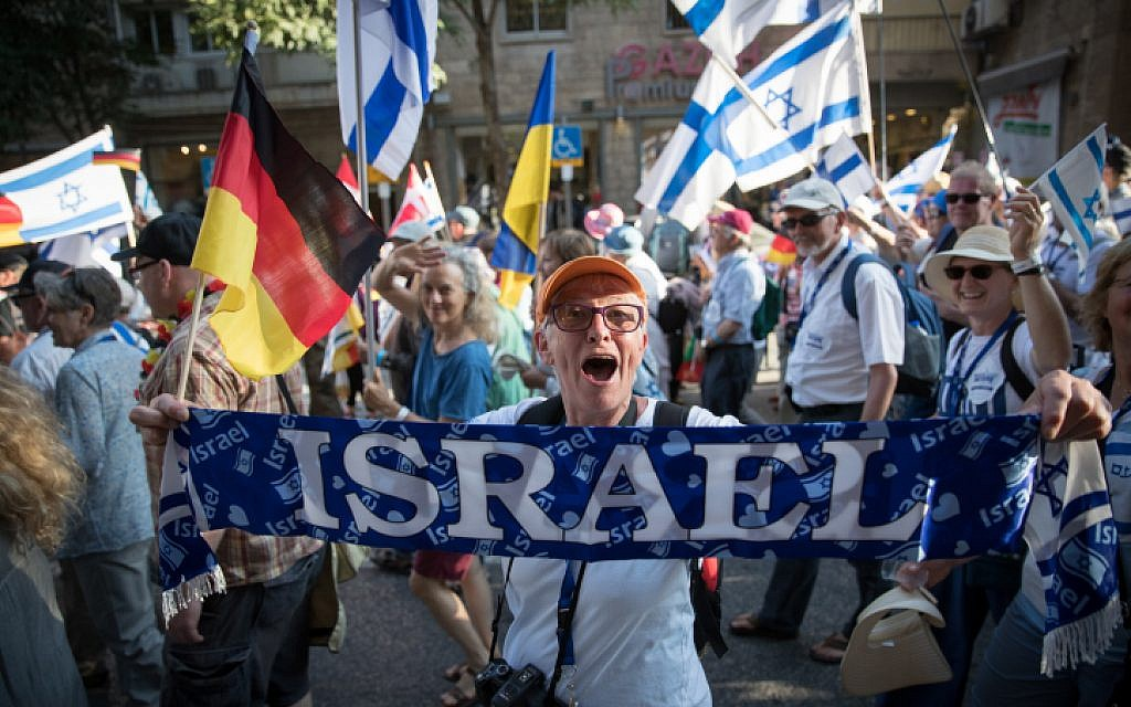 Thousands of Christians march at March of the Nations 2018 event in center of Jerusalem, May 15, 2018. (Yonatan Sindel/Flash90)