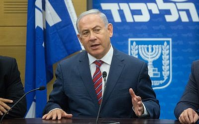 Prime Minister Benjamin Netanyahu leads a Likud faction meeting at the Knesset on May 28, 2018. (Miriam Alster/Flash90)