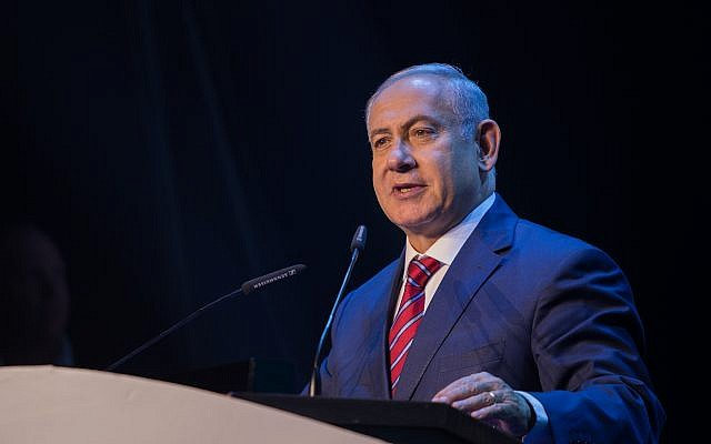 Prime Minister Benjamin Netanyahu speaks during a conference with science ministers from around the world in Jerusalem on May 28, 2018. (Yonatan Sindel/Flash90)