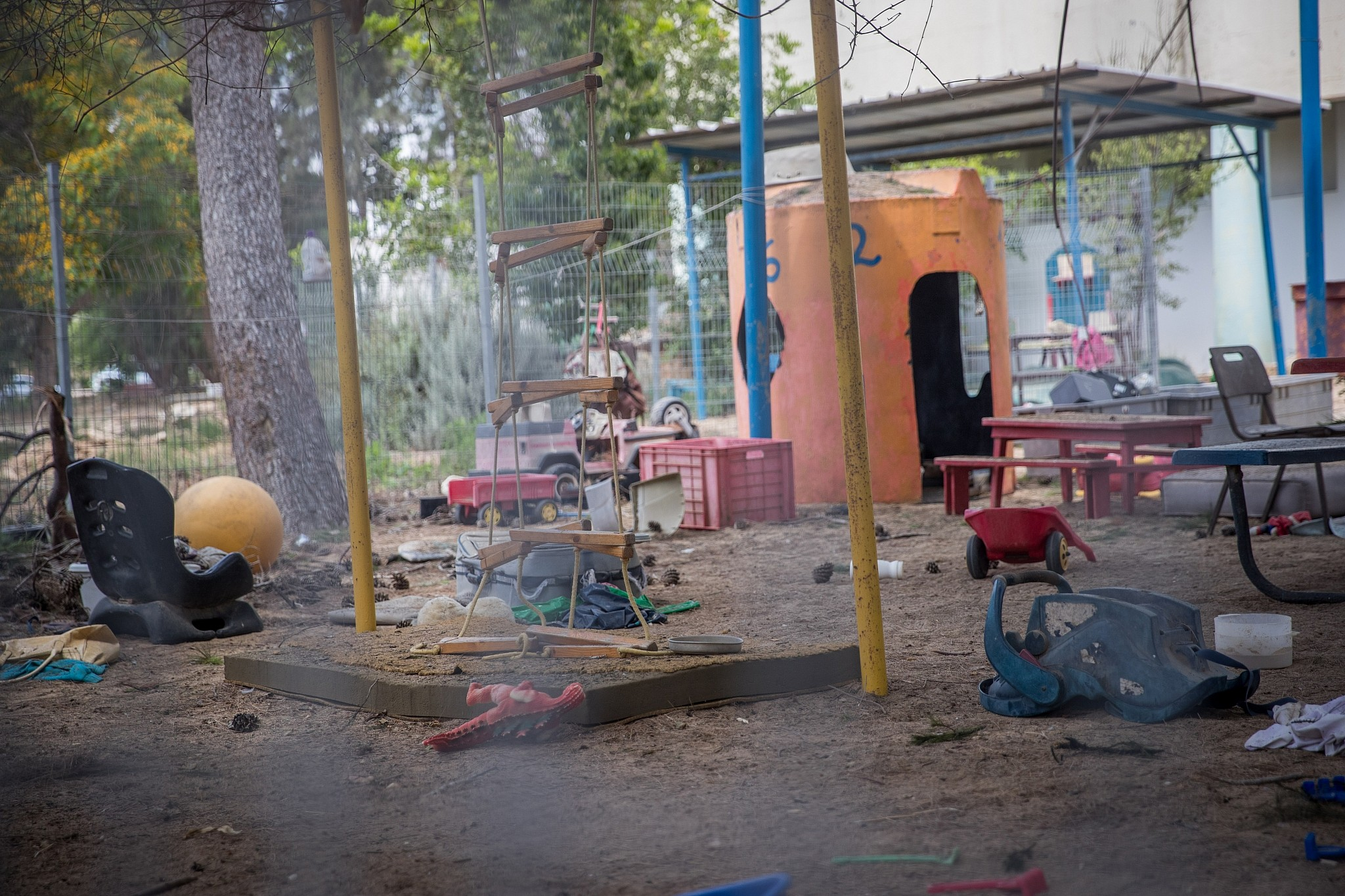 The site where a mortar shell from Gaza hit a kindergarten in southern Israel