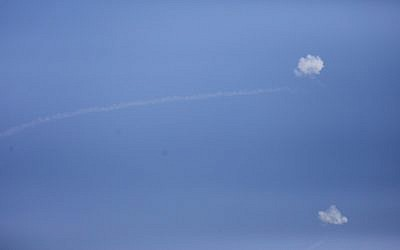 Iron Dome missiles intercept rockets from Gaza seen in the sky over the Southern Israeli city of Sderot, on May 29, 2018. (Yonatan Sindel/Flash90)