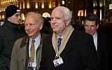 Illustrative: Sen. Joseph Lieberman, left, with Sen. John McCain at the Munich Security Conference in Munich, Germany, January 31, 2014. (Joerg Koch/Getty Images via JTA)