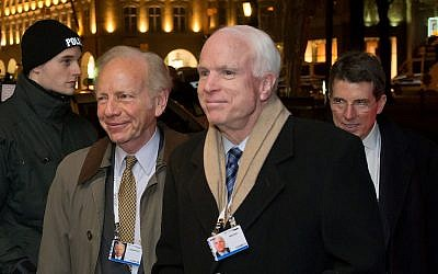 Illustrative: Sen. Joseph Lieberman, left, with Sen. John McCain at the Munich Security Conference in Munich, Germany, January 31, 2014. (Joerg Koch/Getty Images via JTA)