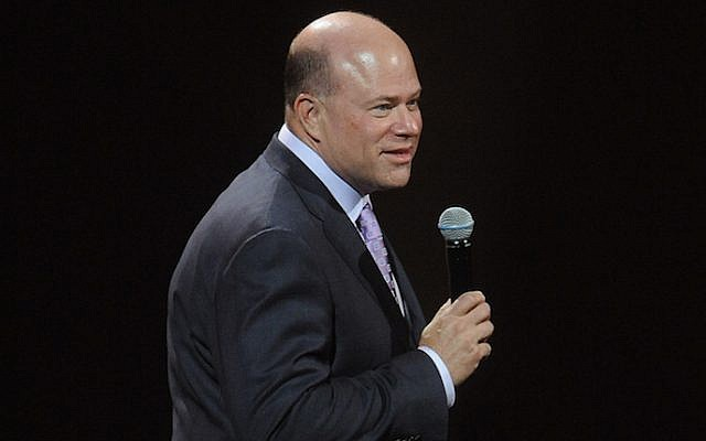 David Tepper speaking at the Jacob Javitz Center in New York City, May 12, 2014. (Brad Barket/Getty Images via JTA)
