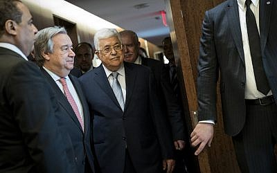 File: UN Secretary General Antonio Guterres, left, meets Palestinian Authority President Mahmoud Abbas at UN headquarters, February 20, 2018 in New York City. (Drew Angerer/Getty Images via JTA)