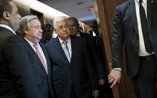 Secretary-General of the United Nations Antonio Guterres, and Palestinian Authority President Mahmoud Abbas arrive for a meeting at UN headquarters, February 20, 2018 in New York City. (Drew Angerer/Getty Images via JTA)