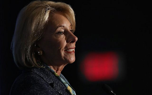 US Education Secretary Betsy DeVos speaks at the National Parent-Teacher Association's 2018 Legislative Conference in Arlington, Va., March 13, 2018. (Win McNamee/Getty Images via JTA)