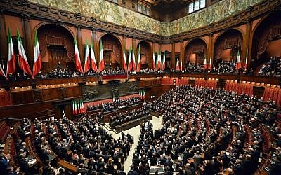 File: The Italian parliament in joint session for the election of President Sergio Mattarella, February 3, 2015. (Courtesy Presidenza della Repubblica)