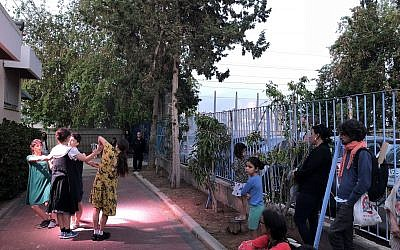 One of the performances at Fest'Factory, a unique community theater event that took place May 8, 2018, in Bat Yam (Jessica Steinberg/Times of Israel)