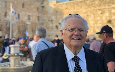 Pastor John Hagee, head of Christians United for Israel, at the Western Wall plaza in Jerusalem's Old City on May 11, 2018. (courtesy CUFI)