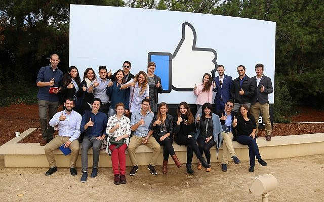 The track's students visiting Facebook