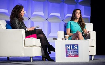 US gymnast Aly Raisman (R) speaks with journalist Sarah Wildman at the ADL national conference in Washington DC on May 6 2018. (Courtesy ADL)