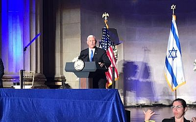 Mike Pence speaking at an Israeli embassy event on May 14, 2018, in Washington, DC. (Eric Cortellessa/Times of Israel)