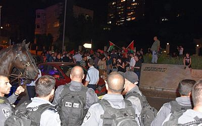 Police are seen at a pro-Gaza rally in Haifa on May 20, 2018. (Police Spokesperson)