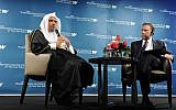 Muslim World League Secretary General, Mohammad Al-Issa, speaks at The Washington Institute, with TWI's Robert Satloff, May 3, 2018 (TWI/Lloyd Wolf)