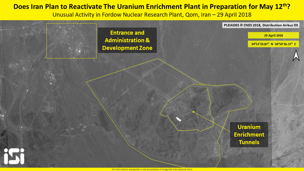 Israeli Satellite Firm Reports Unusual Activity At Iran Nuclear Inside A Power Plant Diagram Image From April 29 2018 Showing Recent The Fordo Facility In Imagesat International Isi