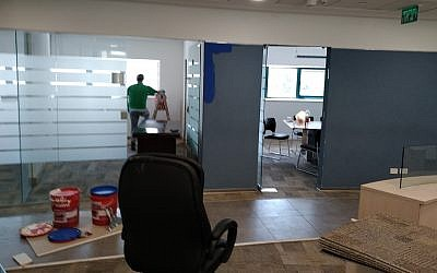 The still-unfinished office of Guatemala's new embassy in Jerusalem, May 2, 2018 (Raphael Ahren/TOI)