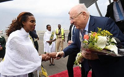 Reuven Rivlin begins the first visit by an Israeli president to Ethiopia, May 1, 2018. (Mark Neiman/GPO)