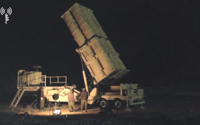 Israeli troops set up an Arrow missile defense system in northern Israel in early May 2018. (Screen capture: Israel Defense Forces)