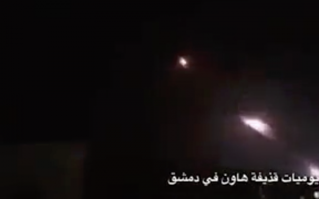 Still image from a video shared on social media, apparently showing an Iranian rocket barrage targeting Israeli military positions on the Golan Heights on May 10, 2018. (Twitter)