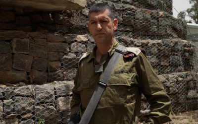 Head of the IDF's 210th 'Bashan' Division Brig. Gen. Amit Fisher praises his unit's actions during fierce clashes with Iranian and Syrian forces along the Syrian border on May 10, 2018. (Screen capture: Israel Defense Forces)