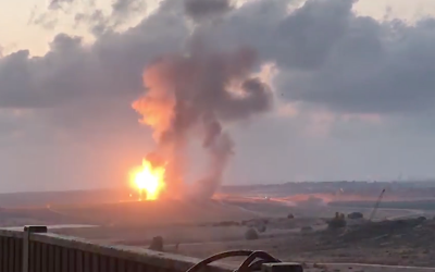 The Israeli army destroys a tunnel in the Gaza Strip that was meters away from entering Israeli territory on May 12, 2018. (Israel Defense Forces)
