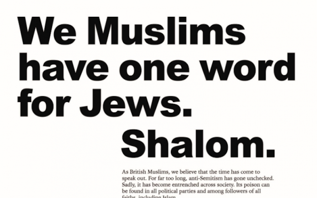 An ad in the Telegraph newspaper, May 17, 2018 (Board of Deputies of British Jews/Twitter)