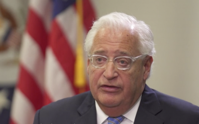 US Ambassador to Israel David Friedman, interviewed on Hadashot TV in his Jerusalem embassy office, May 23, 2018 (Hadashot Screenshot)