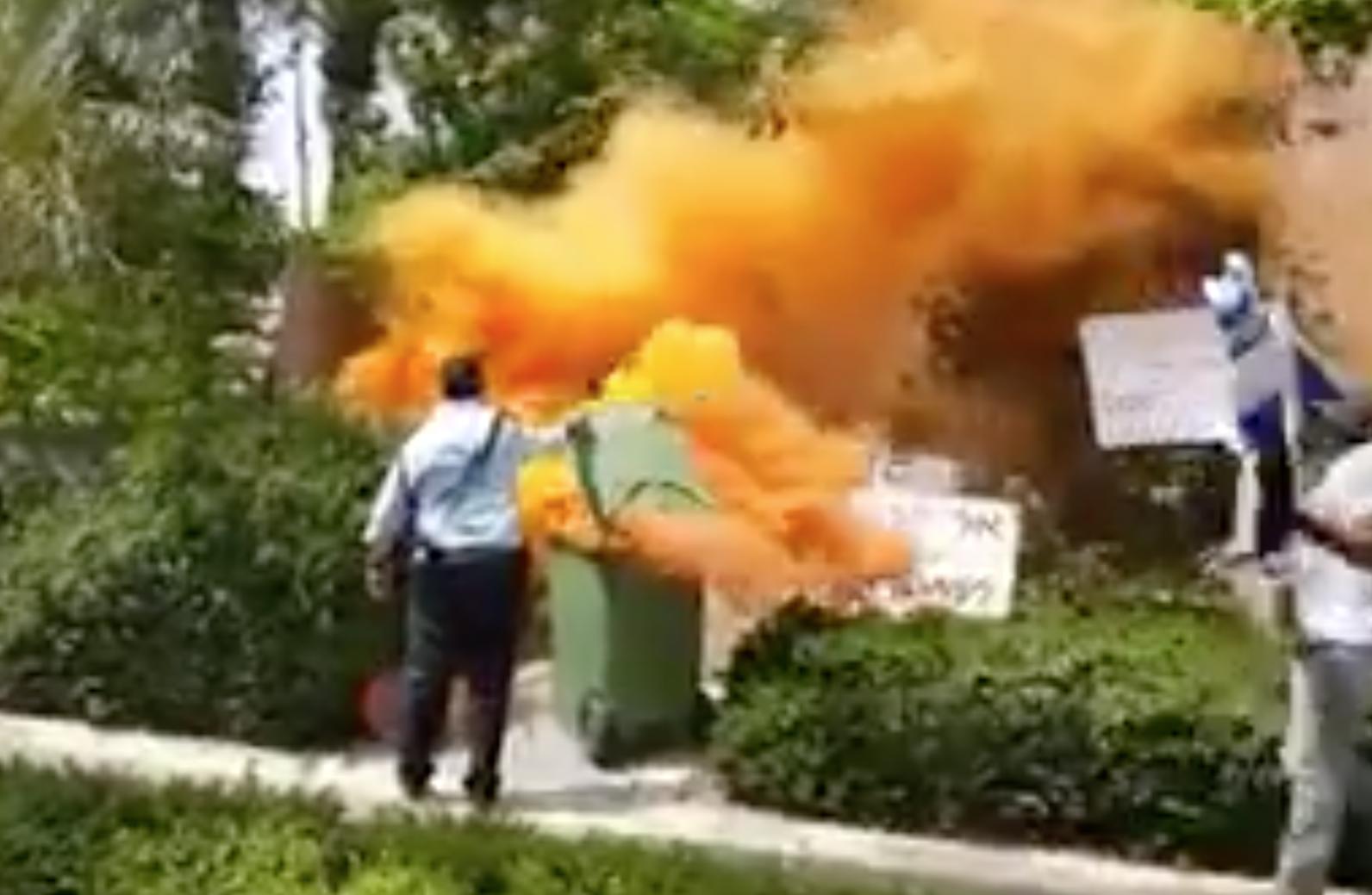 Demonstrators set off smoke bombs near PM's Caesarea home, with him